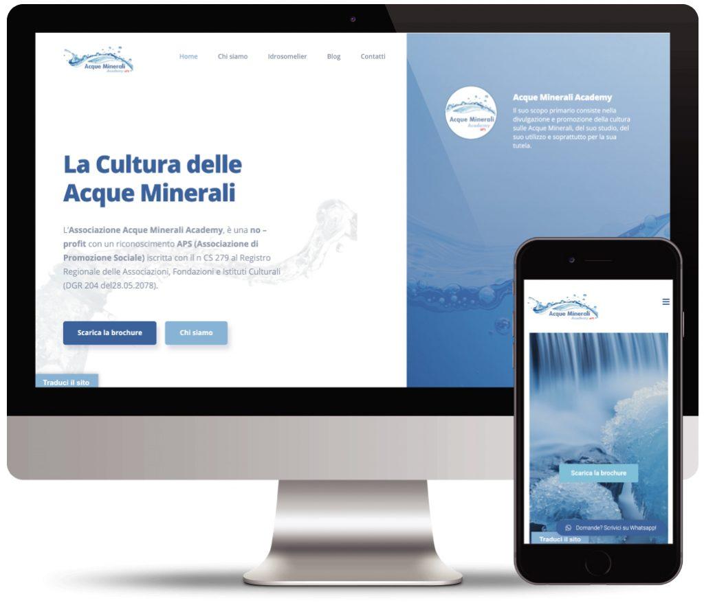 acque minerali academy sito web vetrina